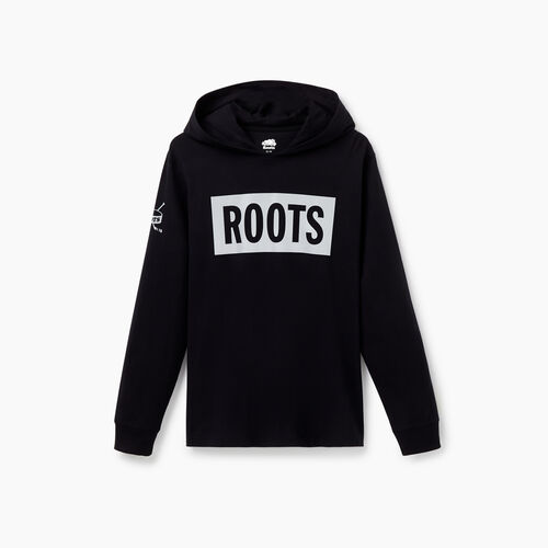 Roots-Sale Tops-Mens Hockey Long Sleeve Hoody T-Shirt-Black-A