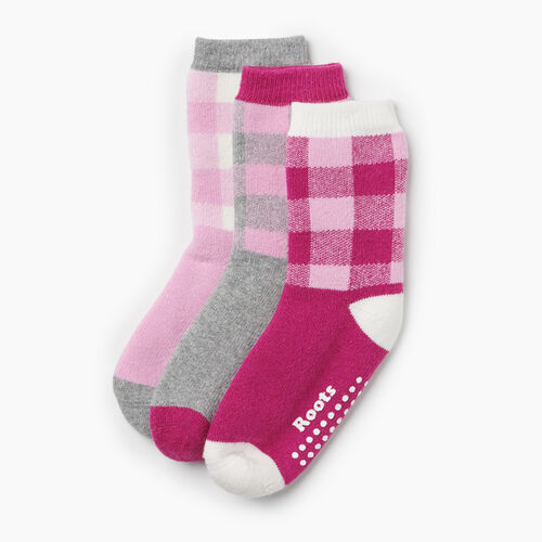 Roots-Kids Toddler Girls-Toddler Plaid Sock 3 Pack-Pink Mix-A