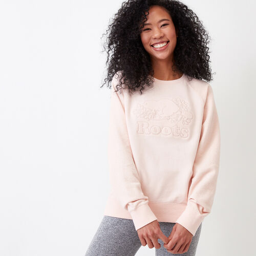 Roots-Clearance Women-Weymouth Crew Sweatshirt-Veiled Rose-A