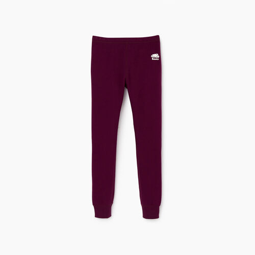 Roots-Kids Sweats-Girls Cozy Fleece Legging-Pickled Beet-A