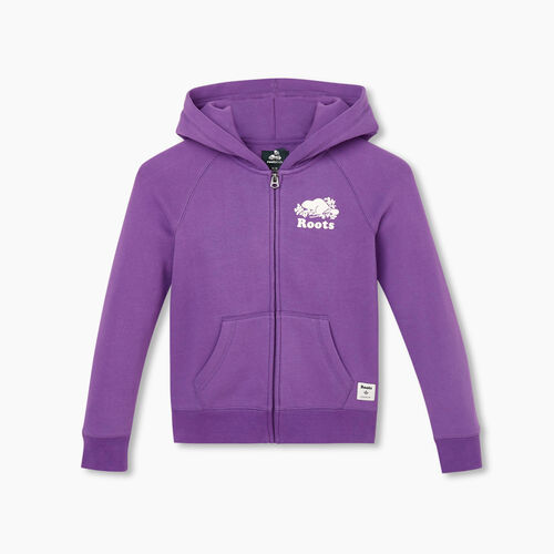 Roots-Kids New Arrivals-Girls Original Full Zip Hoody-Deep Lavender-A