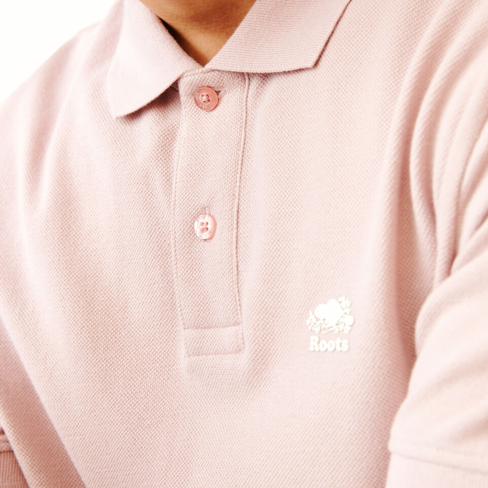Roots-Men Categories-Heritage Pique Polo-Burnished Lilac-E