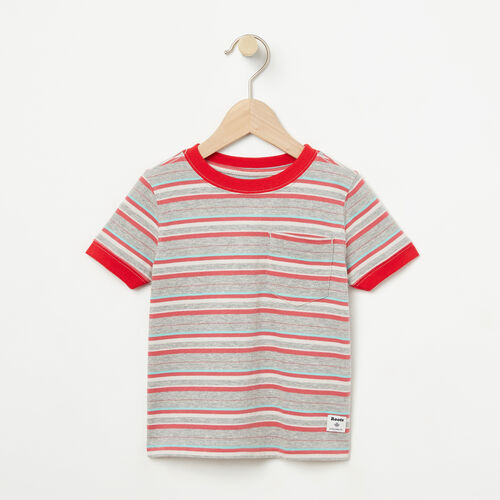 Roots-Kids T-shirts-Toddler Striped Ringer Top-Washed Indigo-A