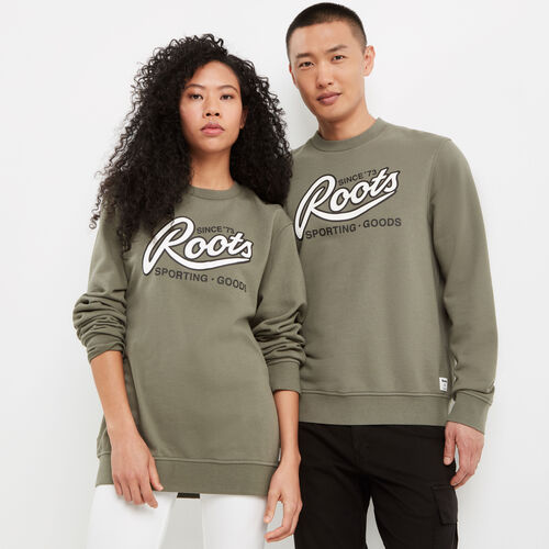 Roots-New For May Women-Roots Sporting Goods Crew Sweatshirt-Dusty Olive-A