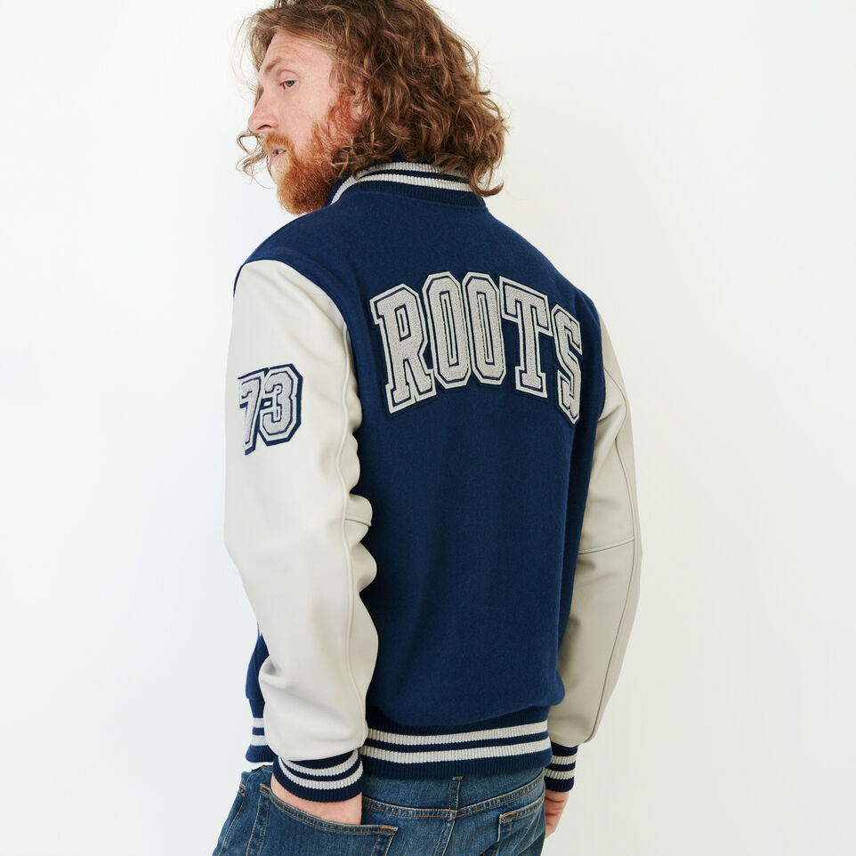 Roots-Men Award Jackets-Mens Hoody Award Jacket-Navy-D