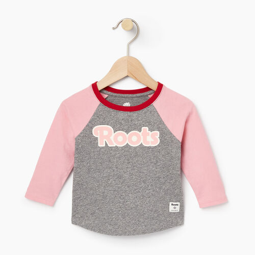Roots-Clearance Baby-Baby Roots Raglan Top-Sea Pink-A