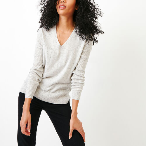 Roots-Women Tops-Penrose Sweater-Grey Mix-A