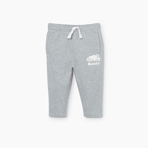 Roots-Kids Bottoms-Baby Easy Ankle Sweatpant-Grey Mix-A