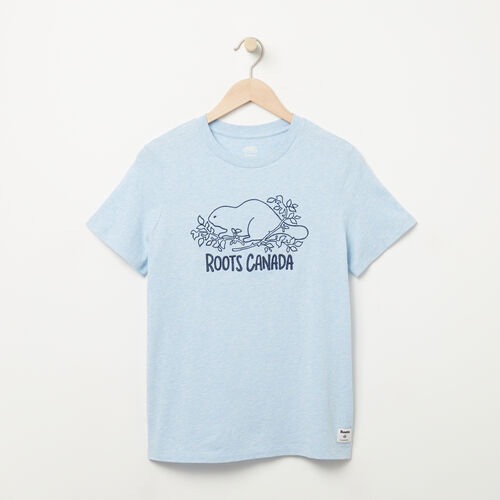 Roots-Women Graphic T-shirts-Womens Roots Canada Beaver T-shirt-Chambray Mix-A