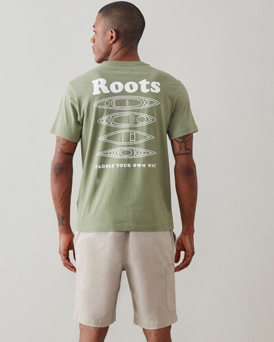 Roots-Men Tops-Mens Paddle Your Own Way T-shirt-Washed Olive-A