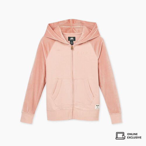Roots-Kids New Arrivals-Girls Cooper Velour Logo Full Zip Hoody-Pale Mauve-A