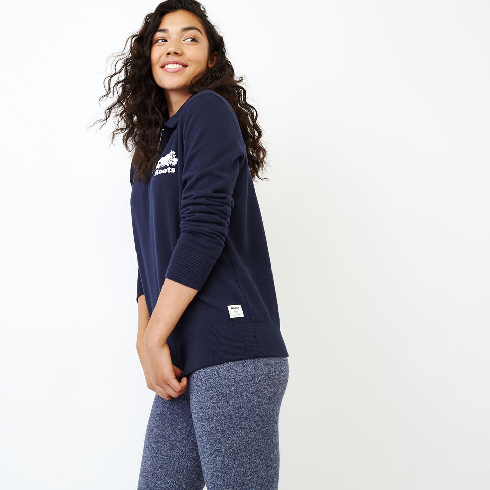 Roots-Women Our Favourite New Arrivals-Original Zip Polo-Navy Blazer-C
