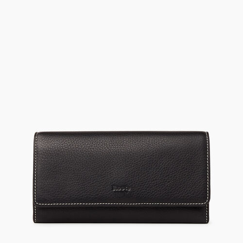 Roots-Leather Our Favourite New Arrivals-Large Chequebook Clutch-Black-A