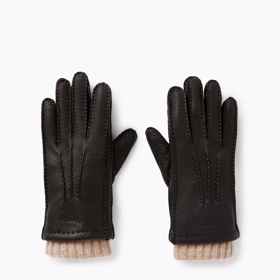Roots-Leather Small Leather Goods-Womens Cuff Deerskin Glove-Black-B