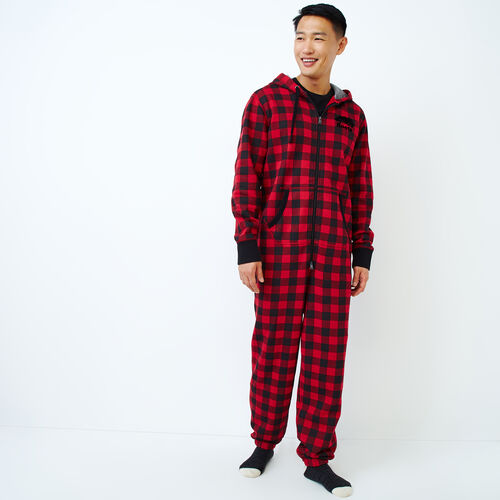 Roots-Men Our Favourite New Arrivals-Park Plaid Onesie-Cabin Red-A