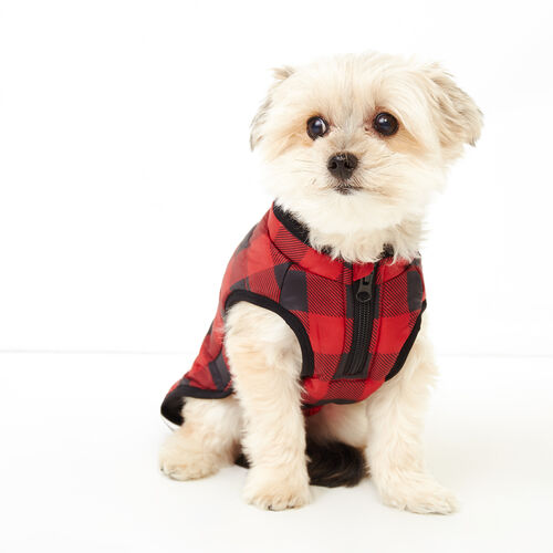Roots-Women Categories-Pooch Park Plaid Puffer Size 12-Red-