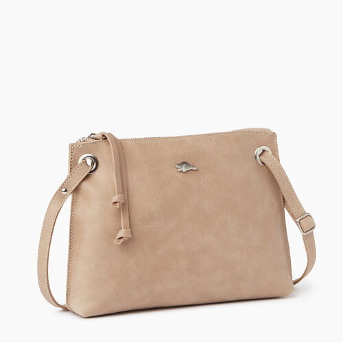 Roots-Leather Crossbody-Edie Bag-Sand-A