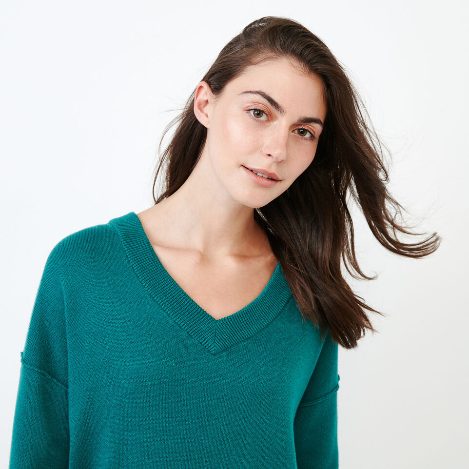 Roots-Women Categories-Alma V Neck Sweater-Teal Green-E