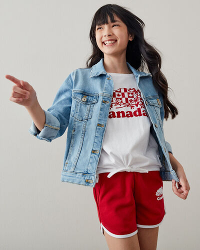 Roots-Kids Canada Collection-Girls Cooper Canada Flag Tie T-shirt-White-A