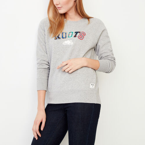 Roots-Winter Sale Women-Applique Crew Sweatshirt-Grey Mix-A