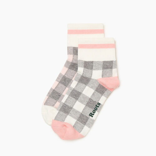 Roots-Women Socks-Womens Park Plaid Ankle Sock 2 Pack-Pink Mix-A