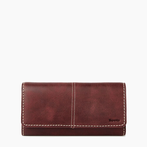 Roots-Winter Sale Women-Large Chequebook Clutch Tribe-Crimson-A