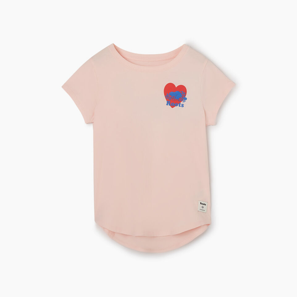 Roots-Kids New Arrivals-Girls Roots Pride T-shirt-English Rose-A