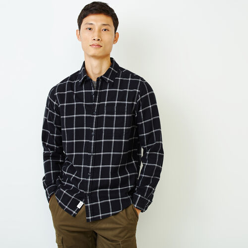 Roots-Men Tops-Lightweight Flannel Shirt-Black-A