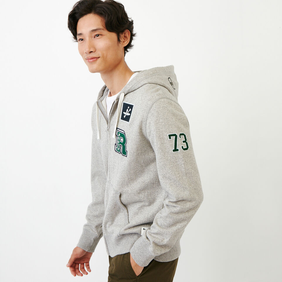 Roots-Men Our Favourite New Arrivals-Badges Full Zip Hoody-Grey Mix Pepper-C