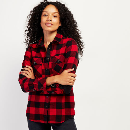 Roots-Women Shirts-Roots Park Plaid Shirt-Cabin Red-A