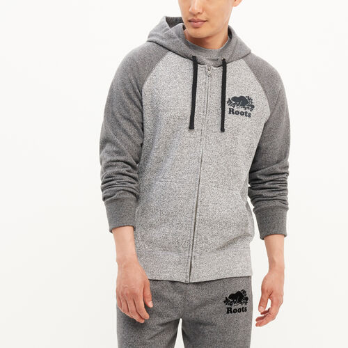 Roots-Winter Sale Men-Original Contrast Zip Hoody-Salt & Pepper-A