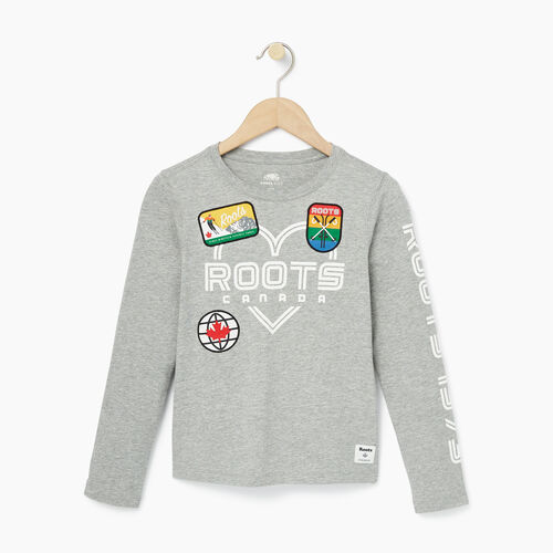Roots-Kids Our Favourite New Arrivals-Girls Ski Patch T-shirt-Grey Mix-A