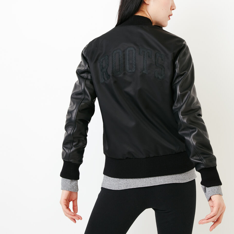 Roots-Leather Categories-Retro Varsity Jacket-Black-D