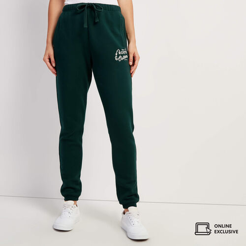 Roots-Sweats Sweatpants-Outdoors Slim Cuff Sweatpant-Varsity Green-A