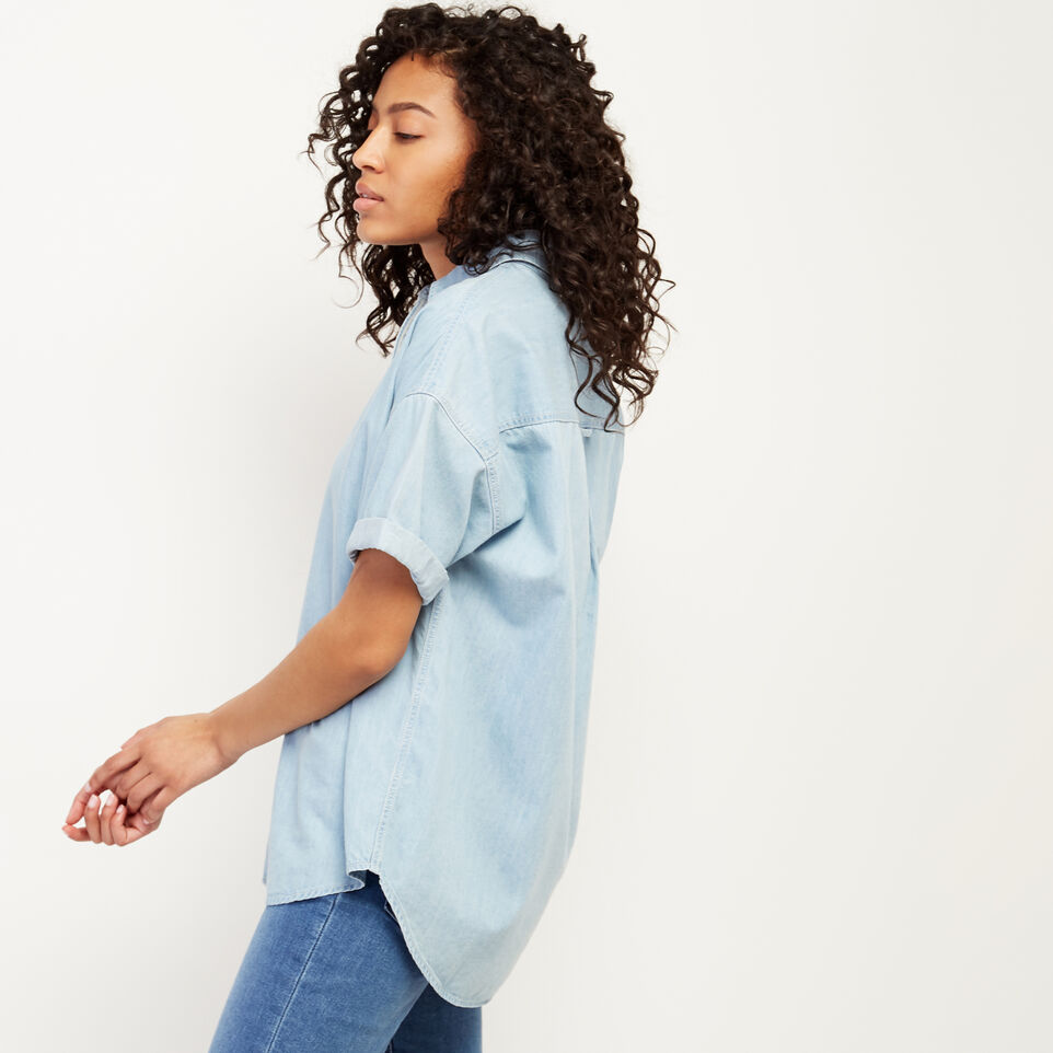 Roots-Women Clothing-Clermont Chambray Shirt-Chambray Blue-C