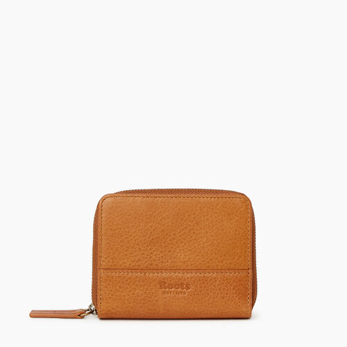 Roots-Leather Our Favourite New Arrivals-Small Zip Wallet-Tan-A