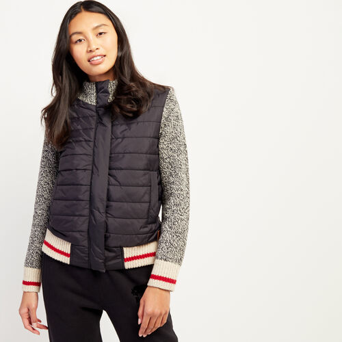 Roots-Women New Arrivals-Roots Cabin Quilted Jacket-Grey Oat Mix-A
