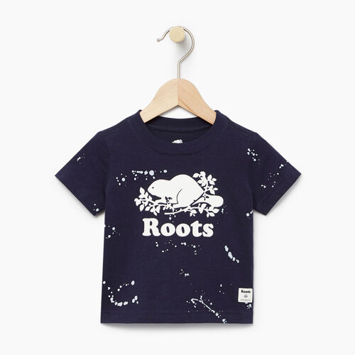 Roots-Clearance Kids-Baby Splatter Aop T-shirt-Navy Blazer-A