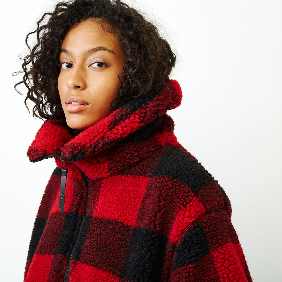 Roots-Women Our Favourite New Arrivals-Park Plaid Sherpa Jacket-Lodge Red-D