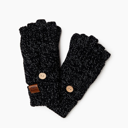 Roots-Clearance Kids-Kids Snowy Fox Flip Mitt-Black Fox-A