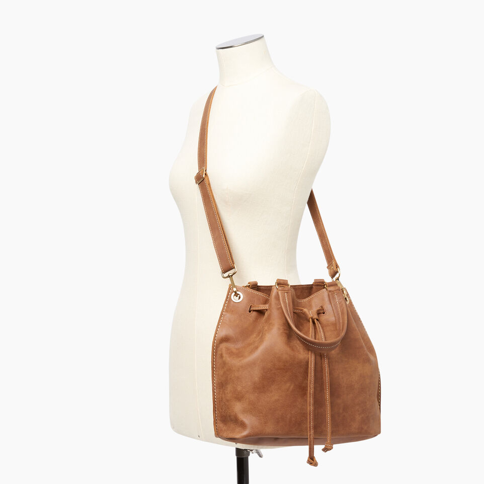 Roots-Leather Shoulder Bags-Hailee Drawstring Bag Tribe-Natural-B