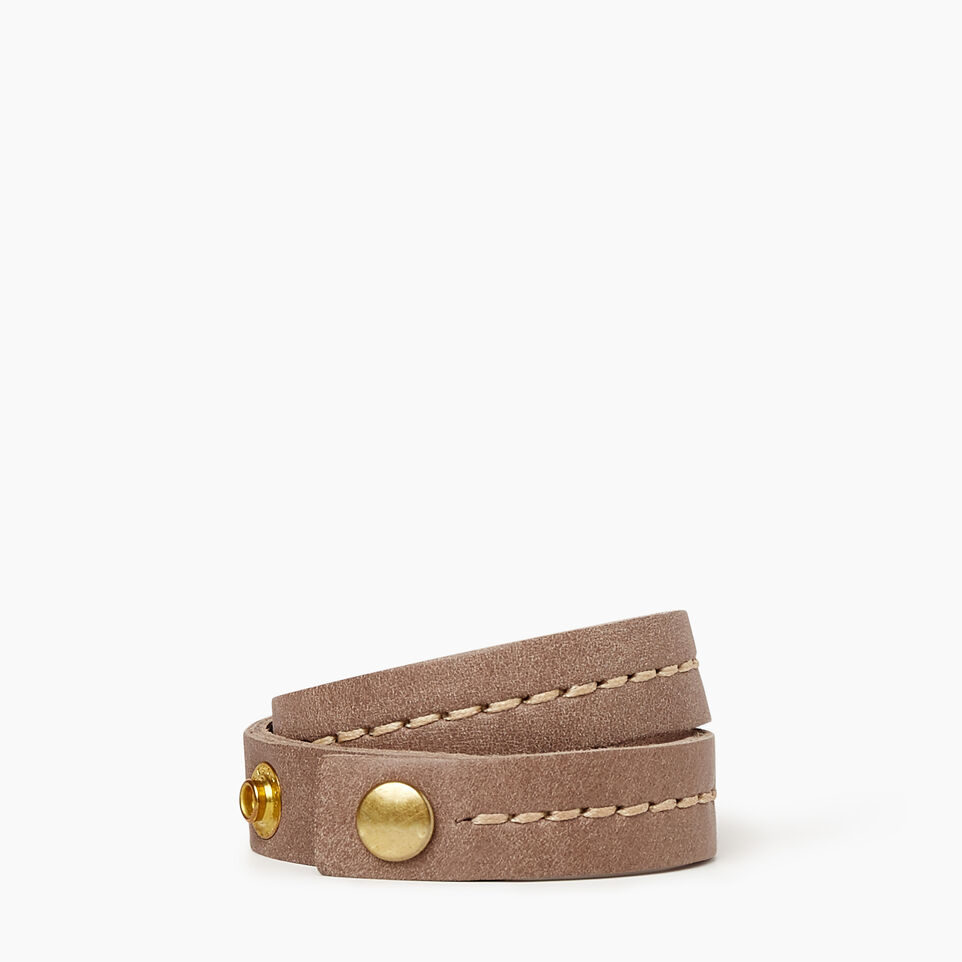 Roots-Women Leather Accessories-Double Leather Bracelet-Fawn-A
