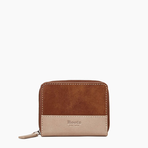 Roots-Leather Our Favourite New Arrivals-Small Zip Wallet-Champagne/ Natural-A