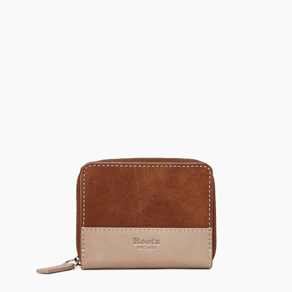 Roots-Women Categories-Small Zip Wallet-Champagne/ Natural-A