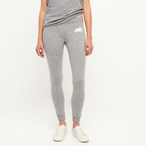 Roots-Women Bottoms-Cozy Fleece Skinny Sweatpant-Salt & Pepper-A