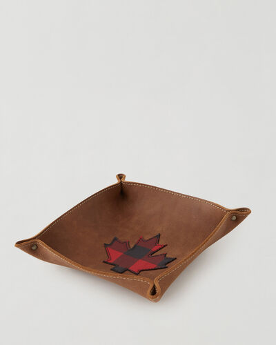 Roots-Leather Leather Accessories-Park Plaid Canada Large Tray-Natural-A
