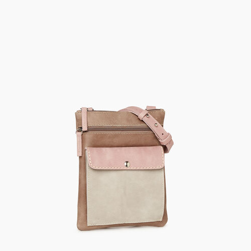 Roots-Leather Handbags-Liberty Pouch - Colour Block-Woodrose-A