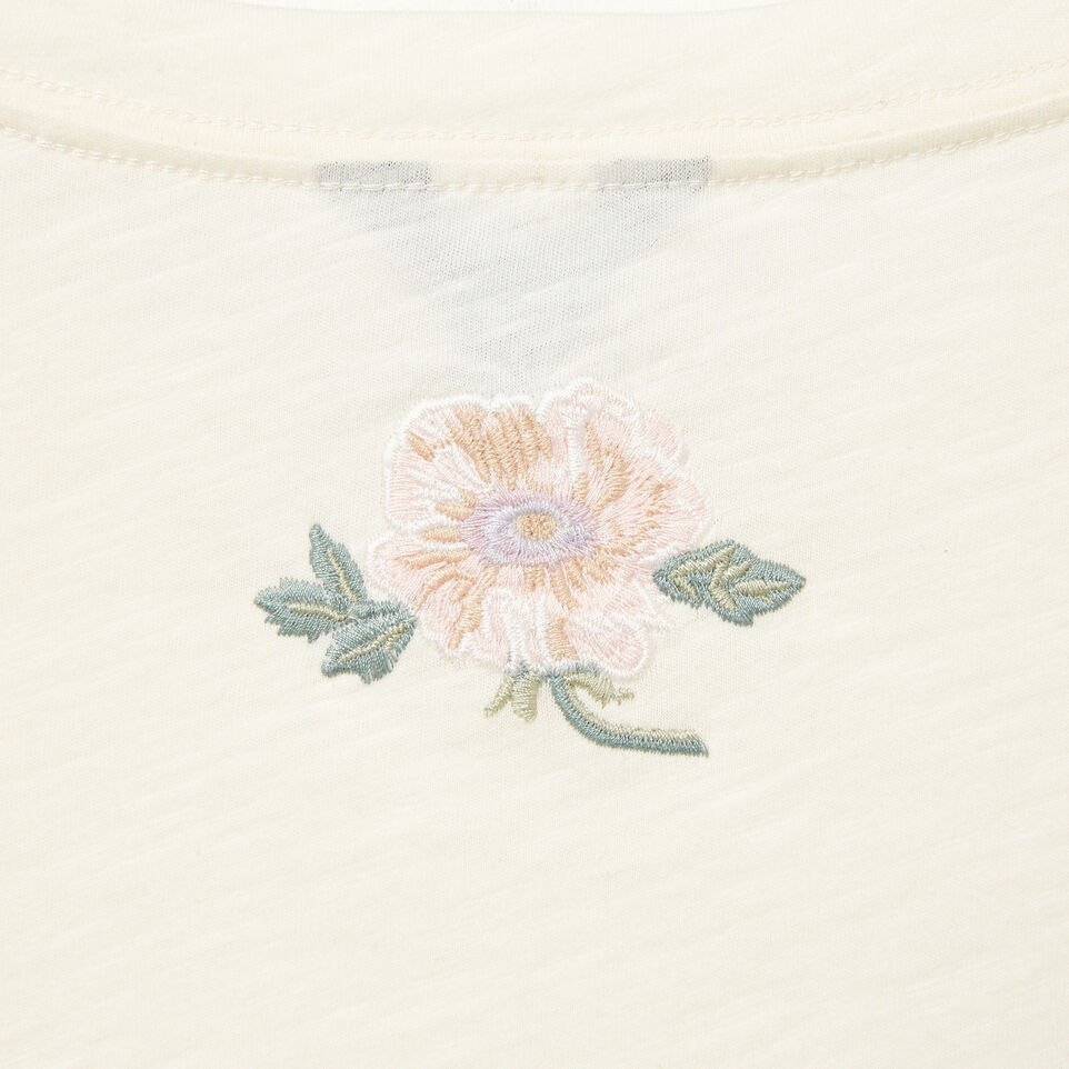 Roots-Clearance Women-Womens Alice Embroidered Crop T-shirt-Pristine White-D
