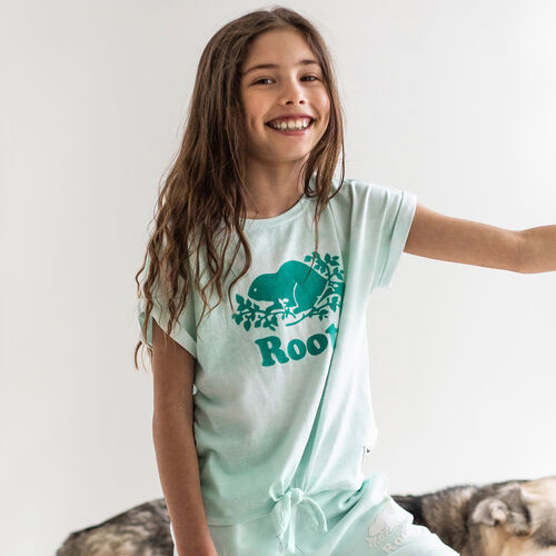 Roots-Kids New Arrivals-Girls Tie T-shirt-Bleached Aqua-A