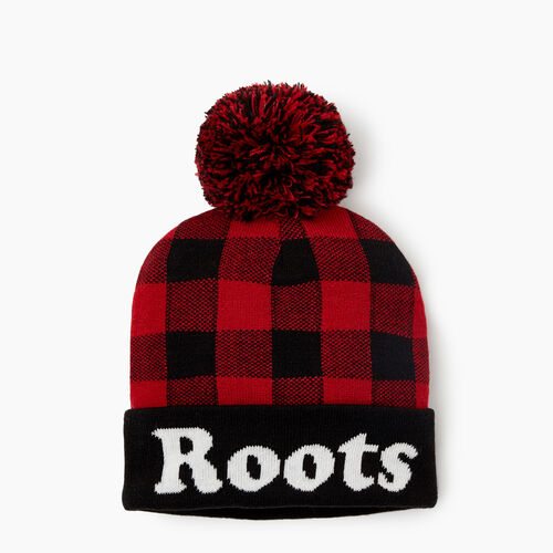 Roots-New For October Kids-Kids Park Plaid Toque-Cabin Red-A